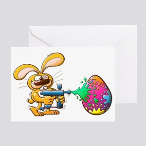 Easter Bunny decorating his egg by s Greeting Card