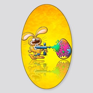 Easter Bunny decorating his egg by  Sticker (Oval)