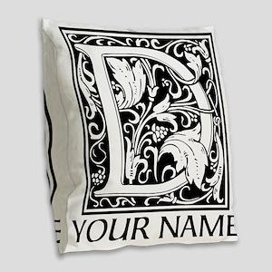 Custom Decorative Letter D Burlap Throw Pillow