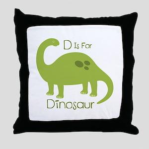 D Is For Dinosaur Throw Pillow