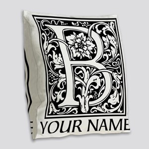 Custom Decorative Letter B Burlap Throw Pillow