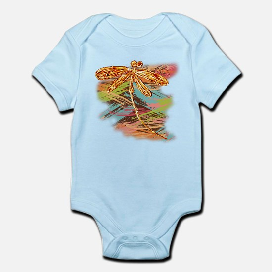 Orange Gold Dragonfly Splash Body Suit