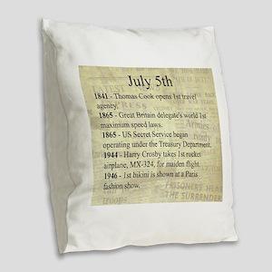 July 5th Burlap Throw Pillow