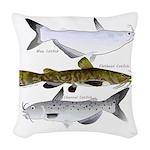 Three North American Catfish Woven Throw Pillow