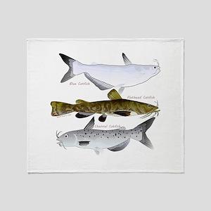 Three North American Catfish Throw Blanket