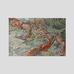 Vintage Lobsters Rectangle Magnet