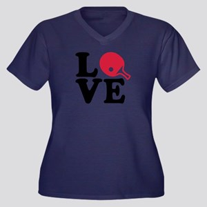 Table tennis Women's Plus Size V-Neck Dark T-Shirt