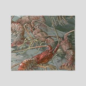 Vintage Lobsters Throw Blanket