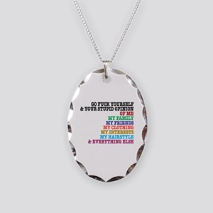 Go Fuck Yourself Necklace Oval Charm