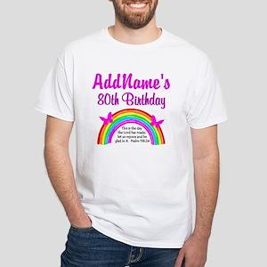 80TH RAINBOW White T-Shirt