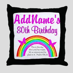 80TH RAINBOW Throw Pillow
