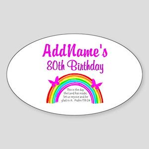 80TH RAINBOW Sticker (Oval)