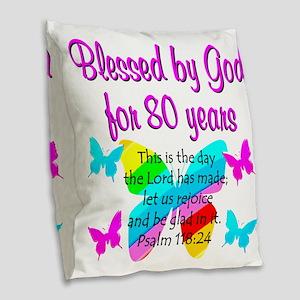 80TH PRAISE GOD Burlap Throw Pillow
