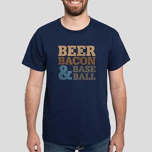 Beer Bacon Baseball Dark T-Shirt