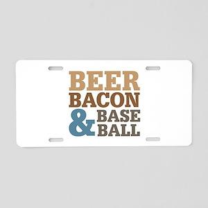 Beer Bacon Baseball Aluminum License Plate
