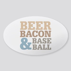 Beer Bacon Baseball Sticker (Oval)