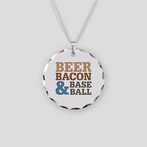 Beer Bacon Baseball Necklace Circle Charm