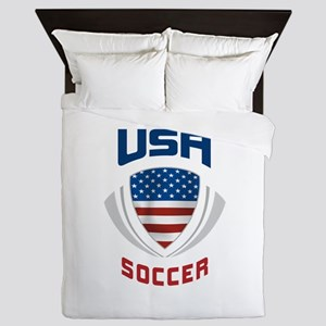 Soccer Crest USA blue Queen Duvet