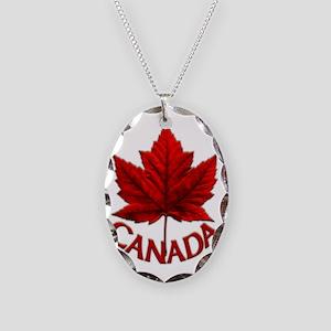 Canada Maple Leaf Souvenir Necklace Oval Charm