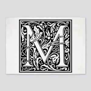 Decorative Letter M 5'x7'Area Rug