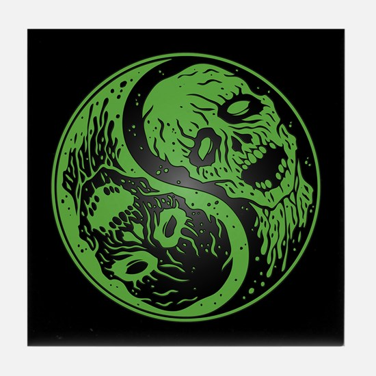 Green and Black Yin Yang Zombies Tile Coaster