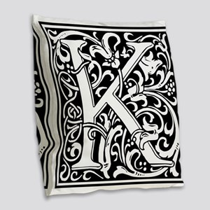 Decorative Letter K Burlap Throw Pillow