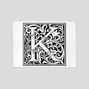 Decorative Letter K 5'x7'Area Rug