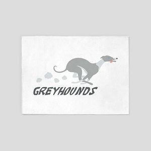 Greyhounds 5'x7'Area Rug