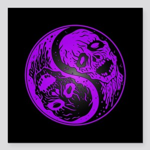 Purple and Black Yin Yang Zombies Square Car Magne