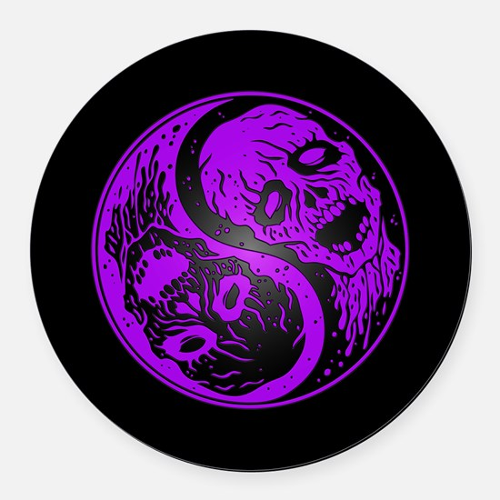 Purple and Black Yin Yang Zombies Round Car Magnet