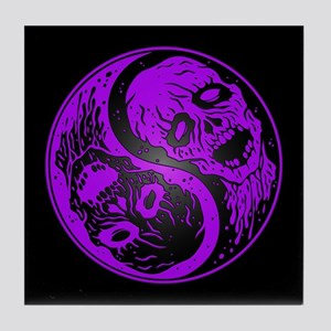 Purple and Black Yin Yang Zombies Tile Coaster