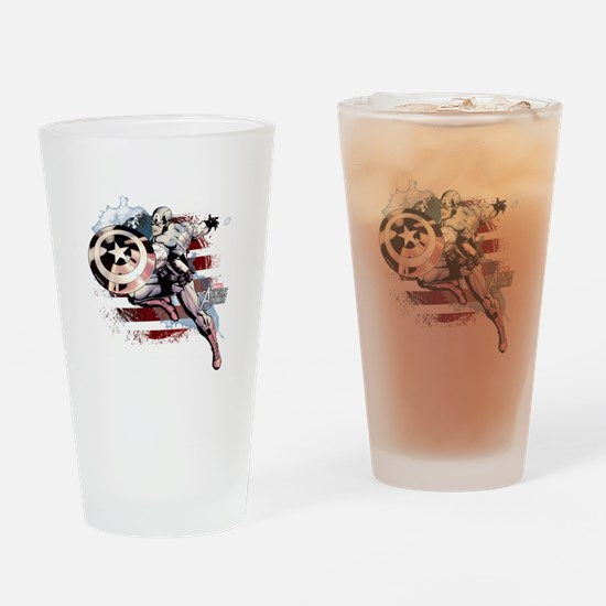 Grunge Captain America Drinking Glass