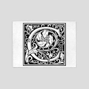 Decorative Letter C 5'x7'Area Rug