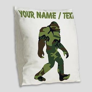 Custom Camo Bigfoot Burlap Throw Pillow