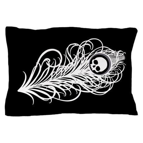 Skull Gothic Peacock Feather Pillow Case
