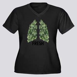 Fresh Air Women's Plus Size V-Neck Dark T-Shirt