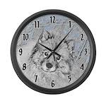 Keeshond (Beth) Large Wall Clock
