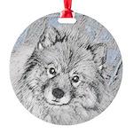 Keeshond (Beth) Round Ornament