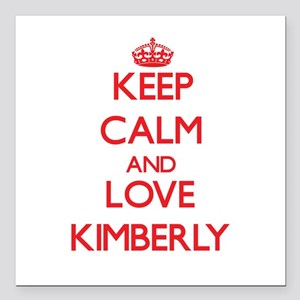 """Keep Calm and Love Kimberly Square Car Magnet 3"""" x"""