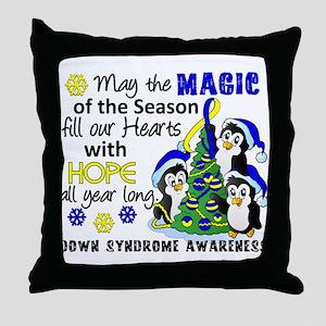 DS Christmas Penguins Throw Pillow