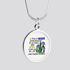 DS Christmas Penguins Silver Round Necklace