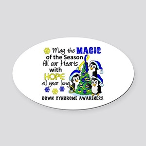 DS Christmas Penguins Oval Car Magnet