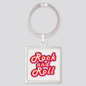 Pink Rock and Roll Square Keychain