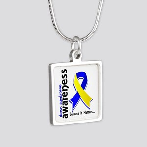 DS Awareness 5 Silver Square Necklace