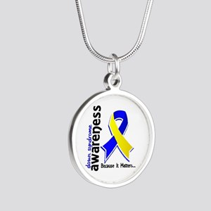 DS Awareness 5 Silver Round Necklace
