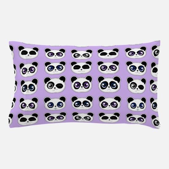 Cute Panda Expressions Pattern Purple Pillow Case