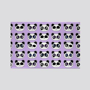 Cute Panda Expressions Pattern Pu Rectangle Magnet