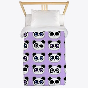 Cute Panda Expressions Pattern Purple Twin Duvet
