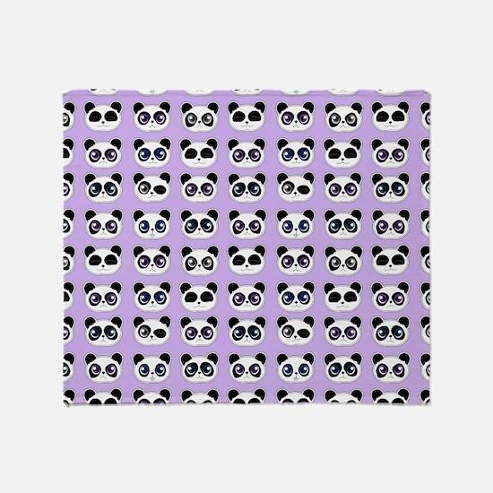 Cute Panda Expressions Pattern Purpl Throw Blanket