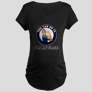 Rosie Retired Riveter Maternity Dark T-Shirt